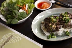 Grilled beef with vermicelli noddle